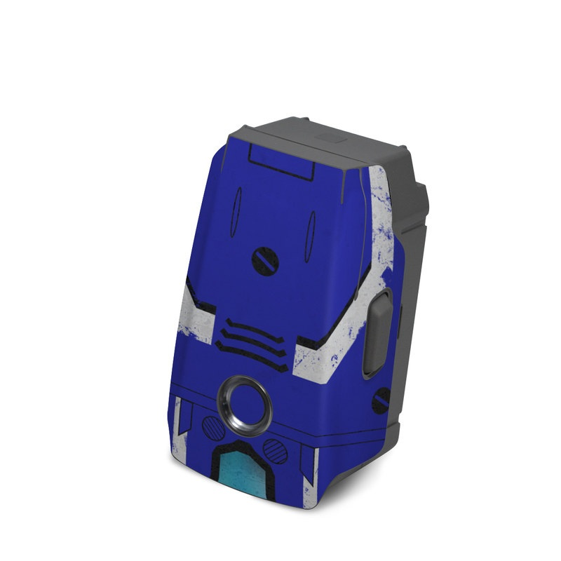 DJI Mavic 2 Battery Skin design of Floppy disk, Technology, Electric blue, Fictional character with white, blue, black, gray colors