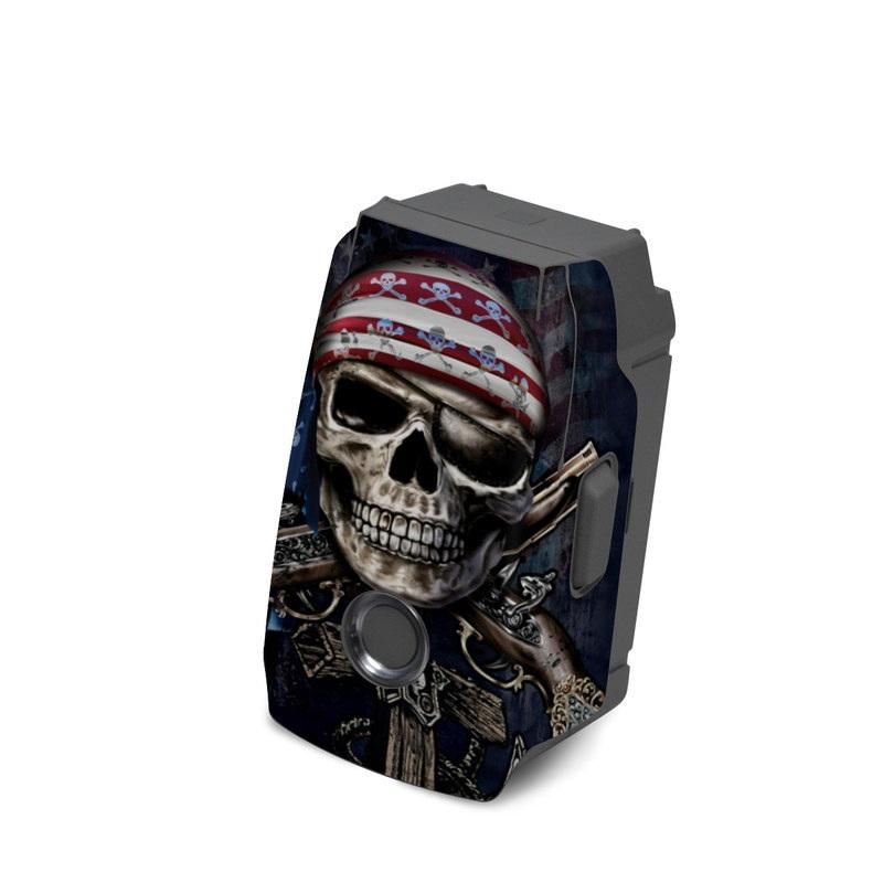 DJI Mavic 2 Battery Skin design of Skull, Bone, Skeleton, Illustration, Outerwear, T-shirt, Flag, Art with black, gray, red colors