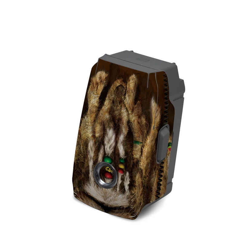 DJI Mavic 2 Battery Skin design of Hair, Fur, Dreadlocks, Snout, Organism, Glasses, Whiskers, Mask, Wildlife, Fictional character with black, green, red, gray colors