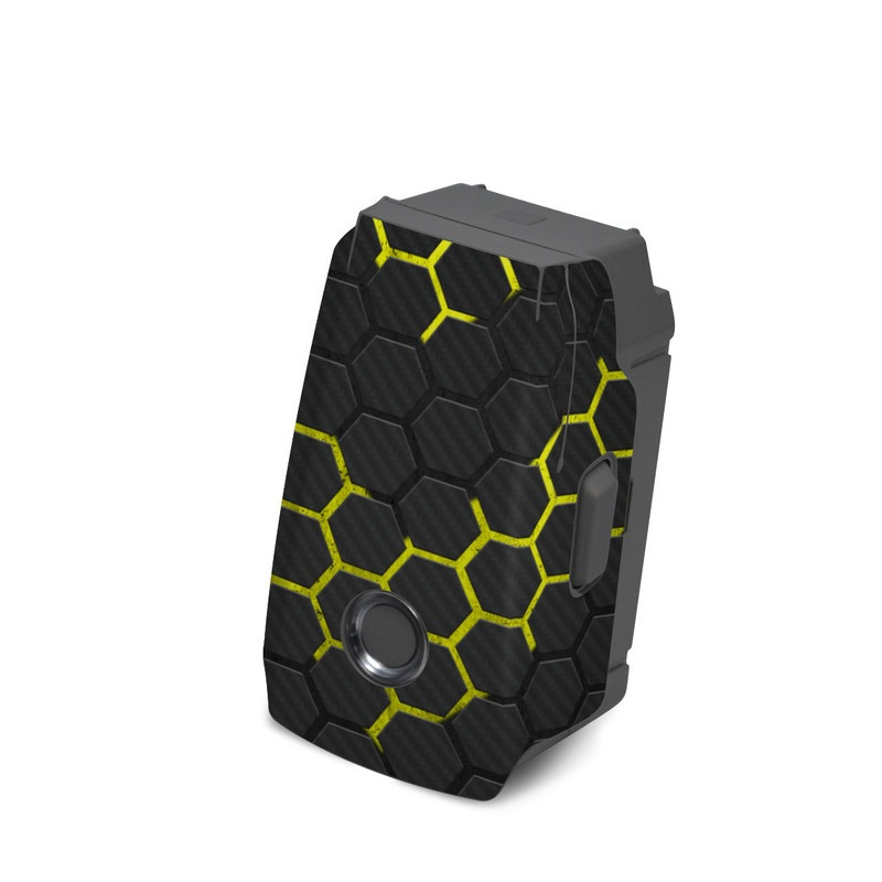 DJI Mavic 2 Battery Skin design of Black, Pattern, Yellow, Mesh, Net, Chain-link fencing, Design, Metal with black, gray, yellow colors