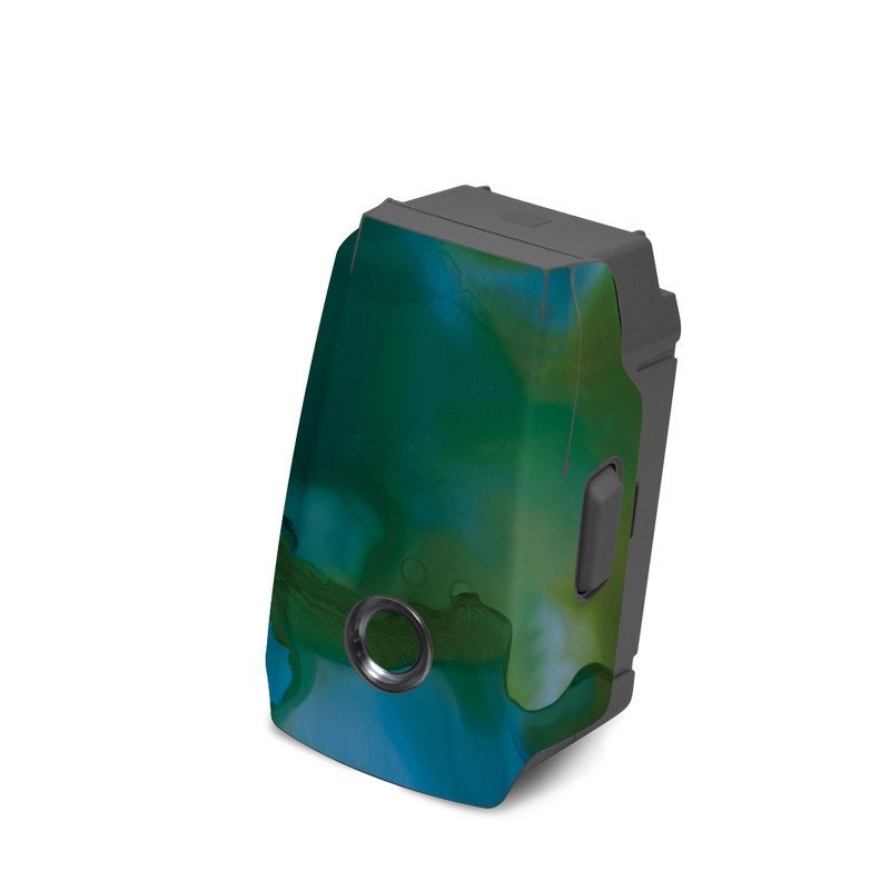 DJI Mavic 2 Battery Skin design of Aqua, Blue, Green, Painting, Turquoise, Teal, Water, Acrylic paint, Art, Organism with blue, green colors
