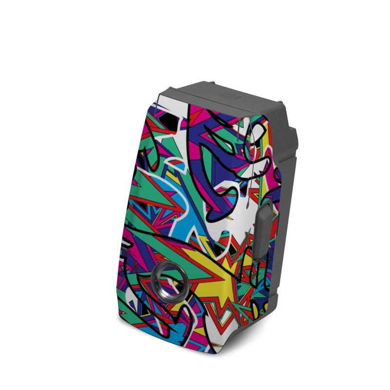 DJI Mavic 2 Battery Skin design of Psychedelic art, Art, Visual arts, Pattern, Design, Graffiti, Graphic design, Modern art, Illustration with black, red, blue, purple, gray colors