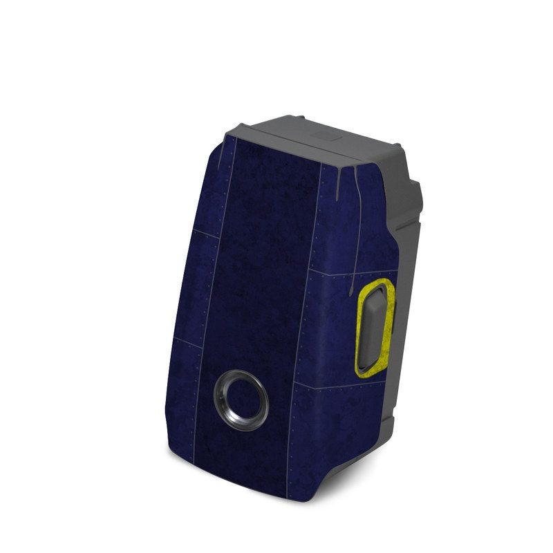 DJI Mavic 2 Battery Skin design with black, blue, yellow, gray colors