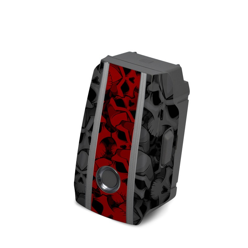 DJI Mavic 2 Battery Skin design of Font, Text, Pattern, Design, Graphic design, Black-and-white, Monochrome, Graphics, Illustration, Art with black, red, gray colors