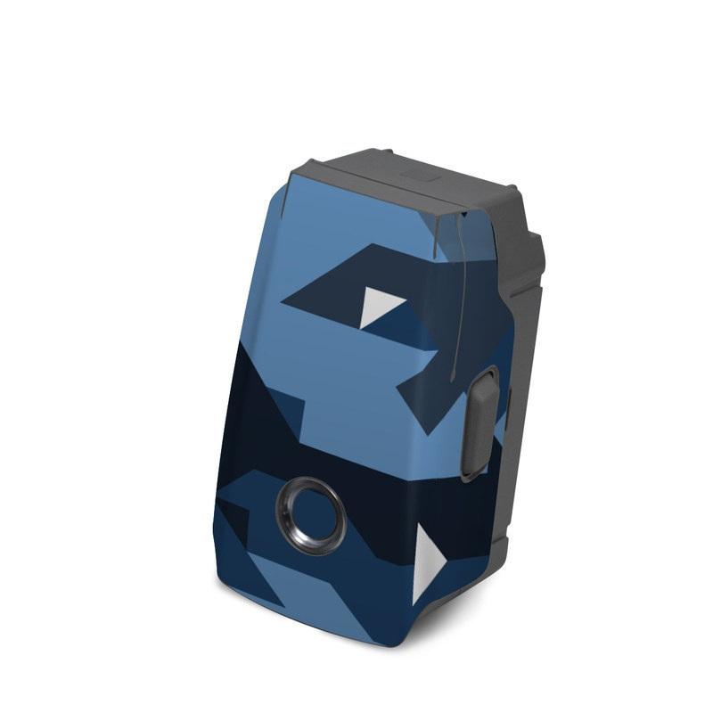 DJI Mavic 2 Battery Skin design of Blue, Pattern, Design, Font, Line, Camouflage, Illustration, Triangle with blue, black, white, gray colors