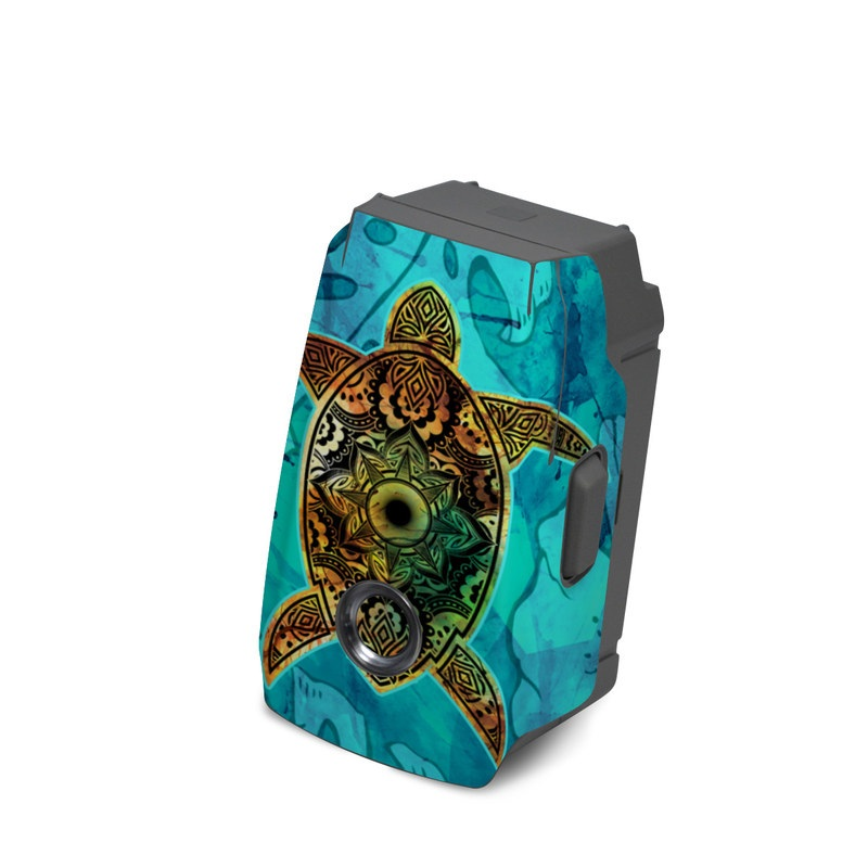 DJI Mavic 2 Battery Skin design of Sea turtle, Green sea turtle, Turtle, Hawksbill sea turtle, Tortoise, Reptile, Loggerhead sea turtle, Illustration, Art, Pattern with blue, black, green, gray, red colors