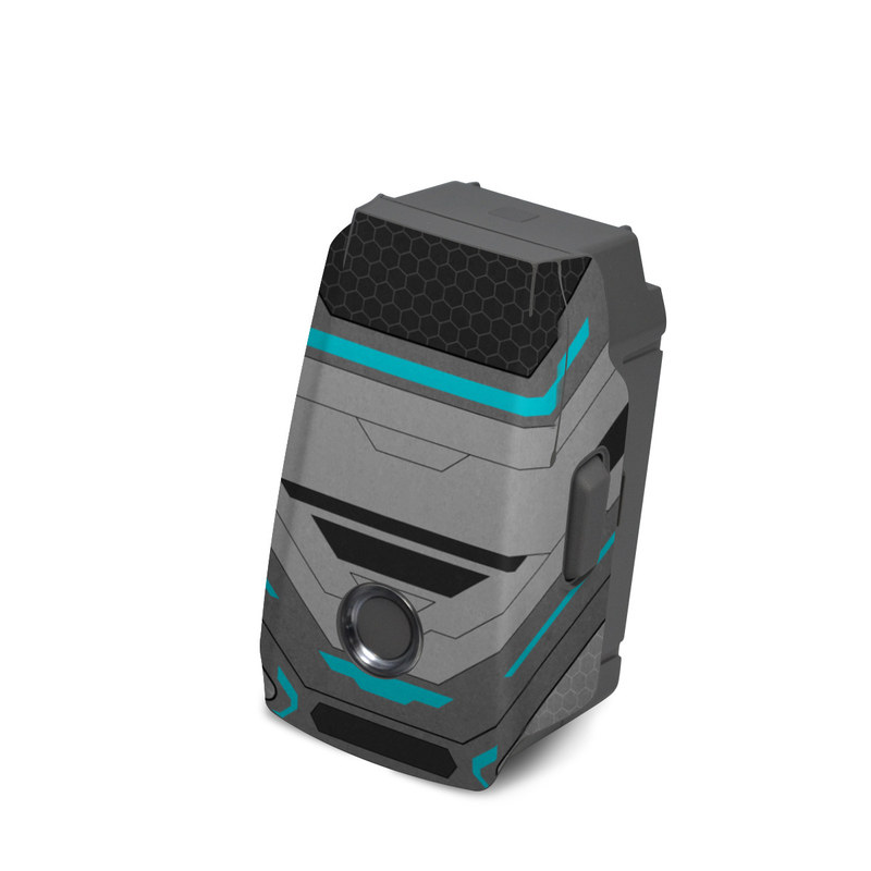 DJI Mavic 2 Battery Skin design of Blue, Turquoise, Pattern, Teal, Symmetry, Design, Line, Automotive design, Font with black, gray, blue colors