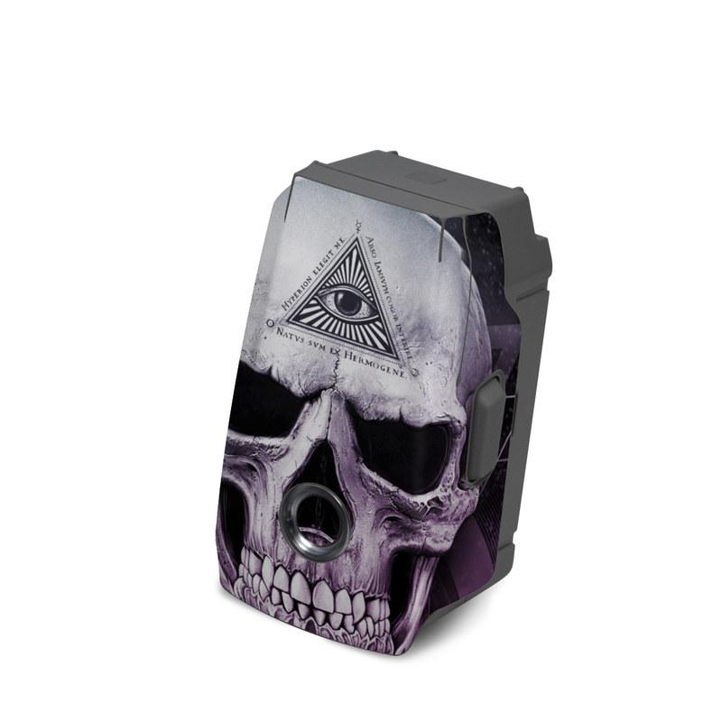 DJI Mavic 2 Battery Skin design of Skull, Bone, Illustration, Font, Jaw, Fictional character, Graphic design, Graphics, Art with black, white, gray, purple colors