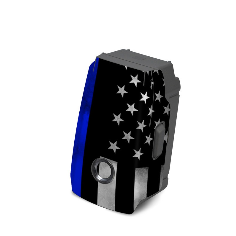 DJI Mavic 2 Battery Skin design of Line, Flag, Text, Flag of the united states, Font, Parallel, Symmetry, Black-and-white, Pattern, Graphics with black, white, gray, blue colors