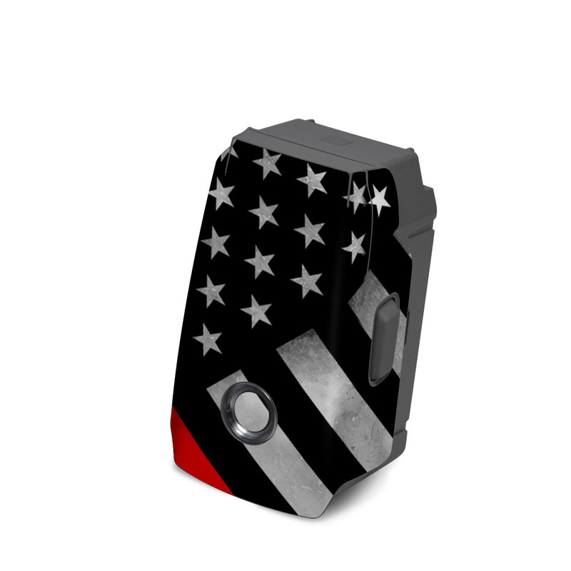 DJI Mavic 2 Battery Skin design of Flag of the united states, Flag, Line, Black-and-white, Pattern, Flag Day (USA), Veterans day, Independence day, Memorial day with black, white, gray, red colors
