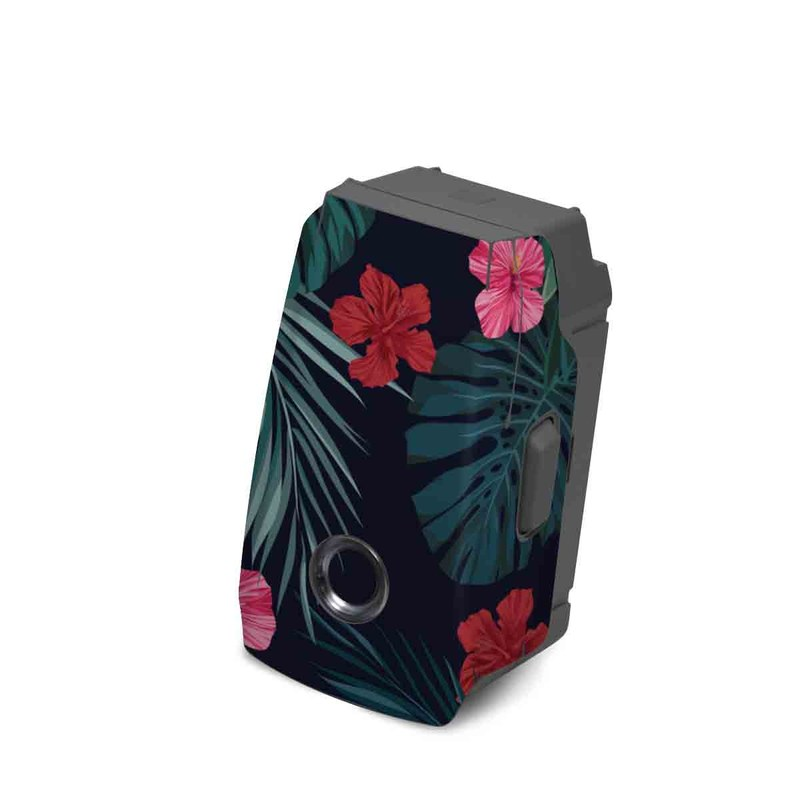 DJI Mavic 2 Battery Skin design of Hawaiian hibiscus, Flower, Pattern, Plant, Leaf, Floral design, Botany, Design, Hibiscus, Petal with black, green, red, pink, orange, yellow, white colors