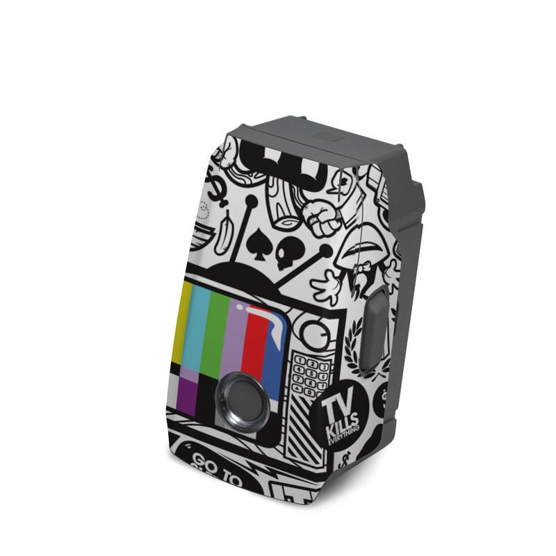 DJI Mavic 2 Battery Skin design of Pattern, Drawing, Doodle, Design, Visual arts, Font, Black-and-white, Monochrome, Illustration, Art with gray, black, white colors
