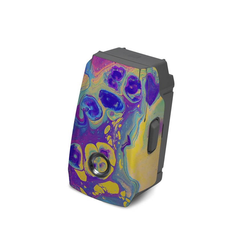 DJI Mavic 2 Battery Skin design of Psychedelic art, Pattern, Purple, Visual arts, Design, Art, Fractal art, Electric blue, Graphic design, Graphics with blue, yellow, purple, pink colors