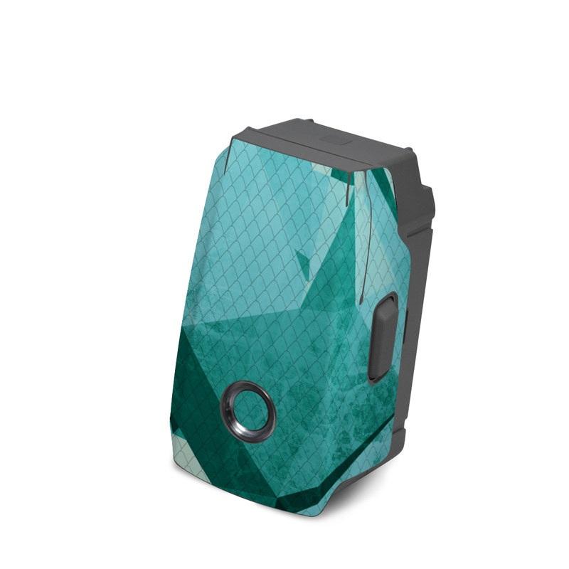 DJI Mavic 2 Battery Skin design of Aqua, Blue, Pattern, Turquoise, Illustration, Teal, Design, Line, Graphic design with blue colors