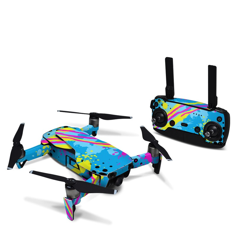 DJI Mavic Air Skin design of Blue, Colorfulness, Graphic design, Pattern, Water, Line, Design, Graphics, Illustration, Visual arts with blue, black, yellow, pink colors