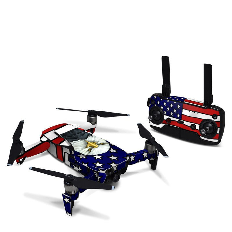 DJI Mavic Air Skin design of Bald eagle, Eagle, Bird, Bird of prey, Accipitridae, Beak, Accipitriformes, Sea eagle, Flag with white, gray, blue, yellow, red colors