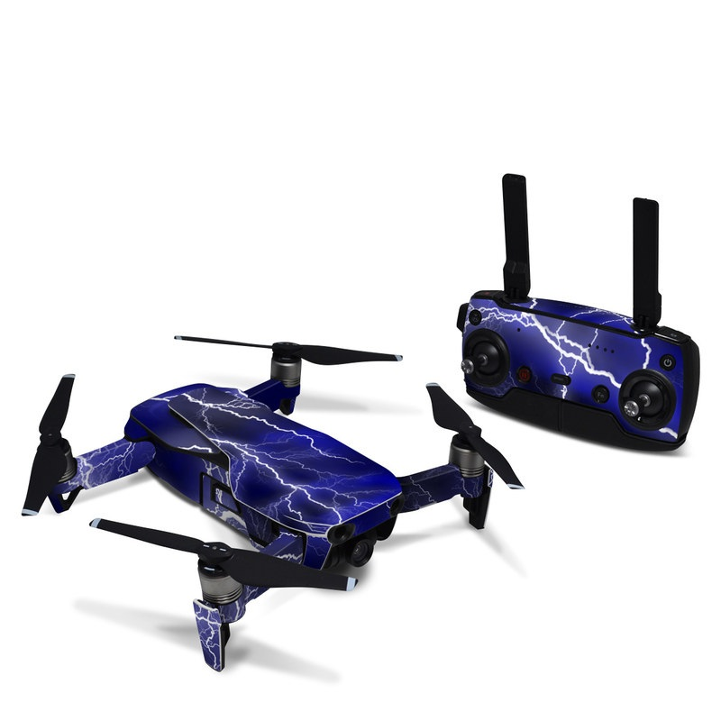 DJI Mavic Air Skin design of Thunder, Lightning, Thunderstorm, Sky, Nature, Electric blue, Atmosphere, Daytime, Blue, Atmospheric phenomenon with blue, black, white colors
