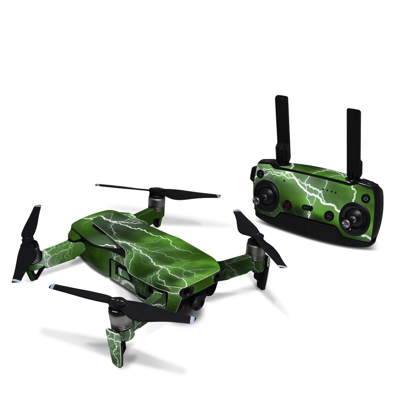 DJI Mavic Air Skin design of Thunderstorm, Thunder, Lightning, Nature, Green, Water, Sky, Atmosphere, Atmospheric phenomenon, Daytime with green, black, white colors