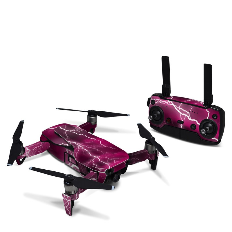 DJI Mavic Air Skin design of Thunder, Lightning, Thunderstorm, Sky, Nature, Purple, Red, Atmosphere, Violet, Pink with pink, black, white colors