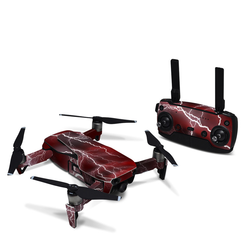 DJI Mavic Air Skin design of Thunder, Thunderstorm, Lightning, Red, Nature, Sky, Atmosphere, Geological phenomenon, Lighting, Atmospheric phenomenon with red, black, white colors