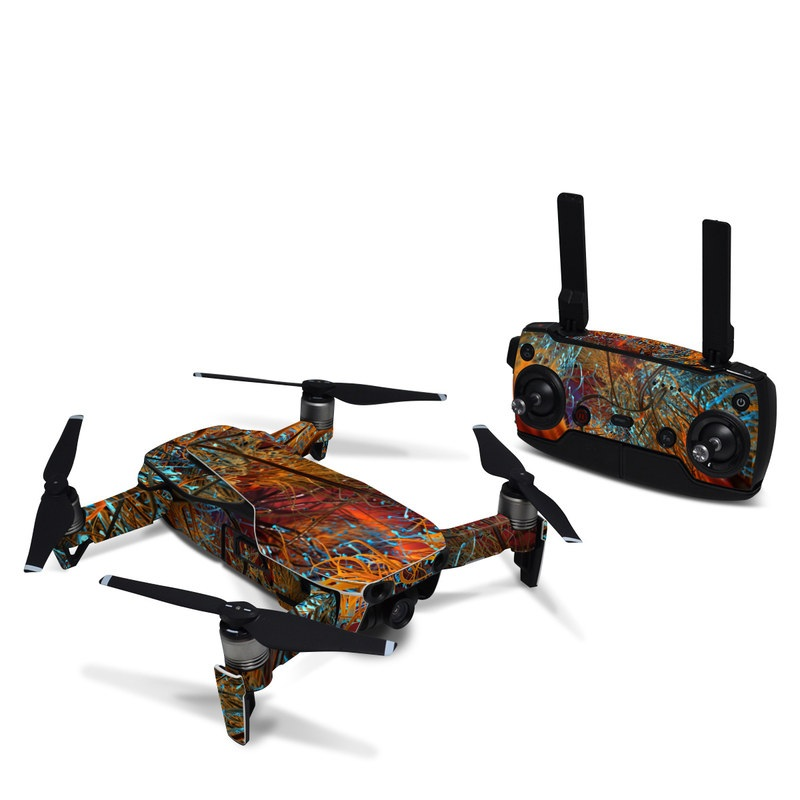 DJI Mavic Air Skin design of Orange, Tree, Electric blue, Organism, Fractal art, Plant, Art, Graphics, Space, Psychedelic art with orange, blue, red, yellow, purple colors