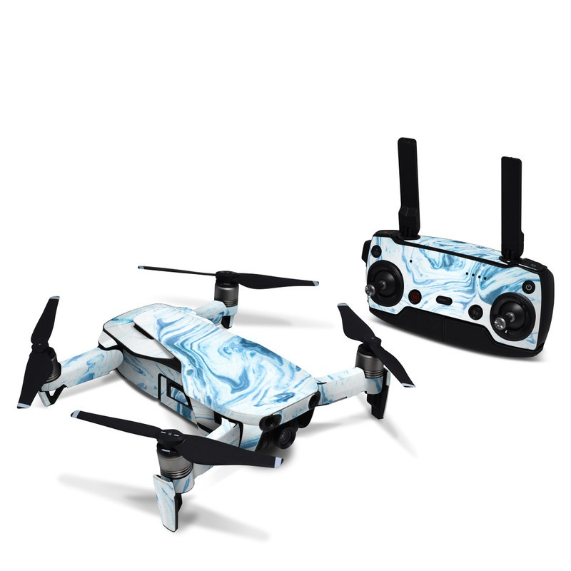 DJI Mavic Air Skin design of Water, Aqua, Wind wave, Drawing, Painting, Wave, Pattern, Art with blue colors