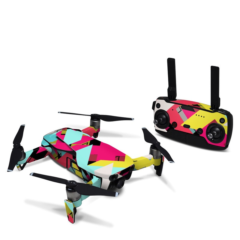 DJI Mavic Air Skin design of Pattern, Graphic design, Line, Design, Triangle, Font, Illustration, Magenta, Visual arts with yellow, blue, white, black, red, pink colors