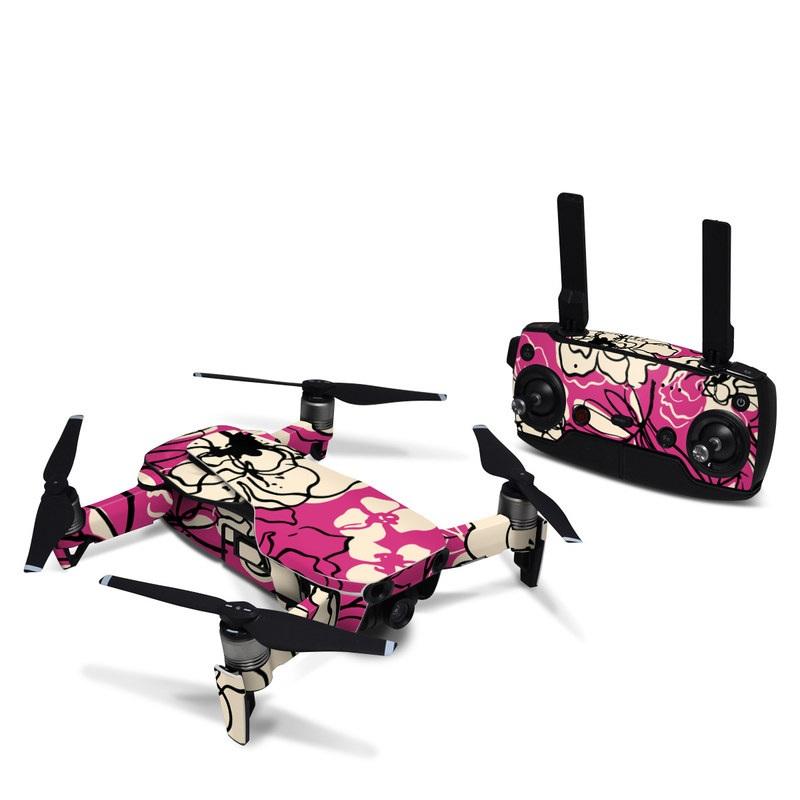 DJI Mavic Air Skin design of Pink, Pattern, Petal, Flower, Floral design, Plant, Botany, Design, Magenta, Visual arts with pink, yellow colors