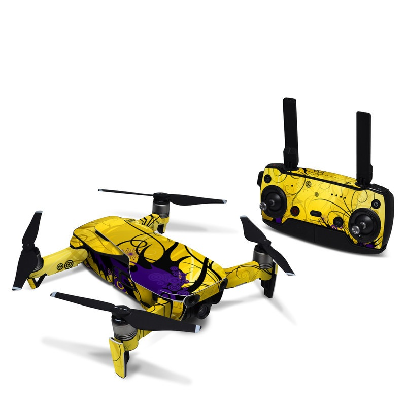 DJI Mavic Air Skin design of Yellow, Pattern, Floral design, Purple, Graphic design, Design, Wallpaper, Art, Illustration, Visual arts with orange, yellow, black, purple colors