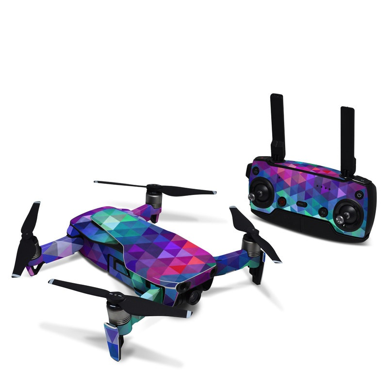 DJI Mavic Air Skin design of Purple, Violet, Pattern, Blue, Magenta, Triangle, Line, Design, Graphic design, Symmetry with blue, purple, green, red, pink colors