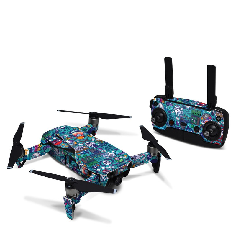 DJI Mavic Air Skin design of Art, Visual arts, Illustration, Graphic design, Psychedelic art with blue, black, gray, red, green colors