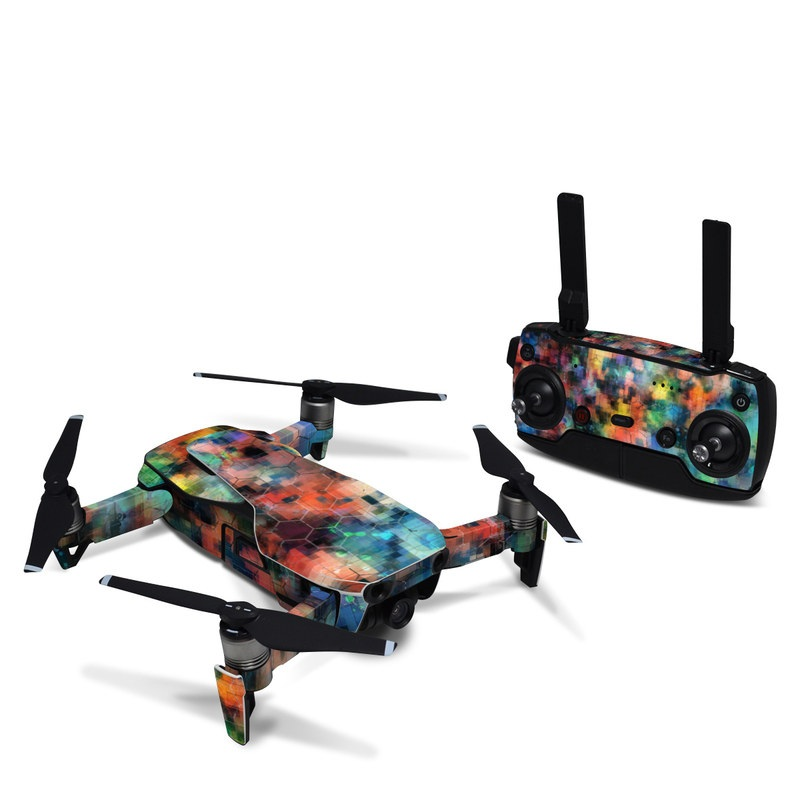 DJI Mavic Air Skin design of Blue, Colorfulness, Pattern, Psychedelic art, Art, Sky, Design, Textile, Dye, Modern art with black, blue, red, gray, green colors