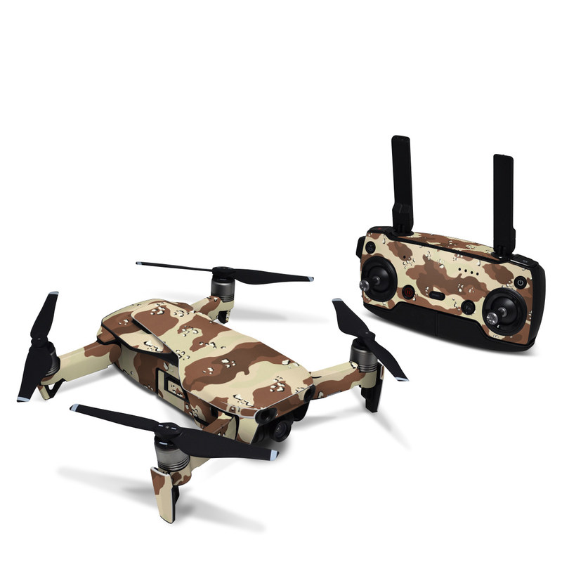 DJI Mavic Air Skin design of Military camouflage, Brown, Pattern, Design, Camouflage, Textile, Beige, Illustration, Uniform, Metal with gray, red, black, green colors