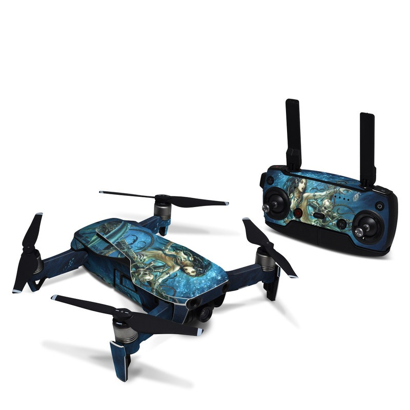 DJI Mavic Air Skin design of Mermaid, Cg artwork, Illustration, Fictional character, Art, Mythology, Mythical creature, Graphic design with blue, green, white, black colors