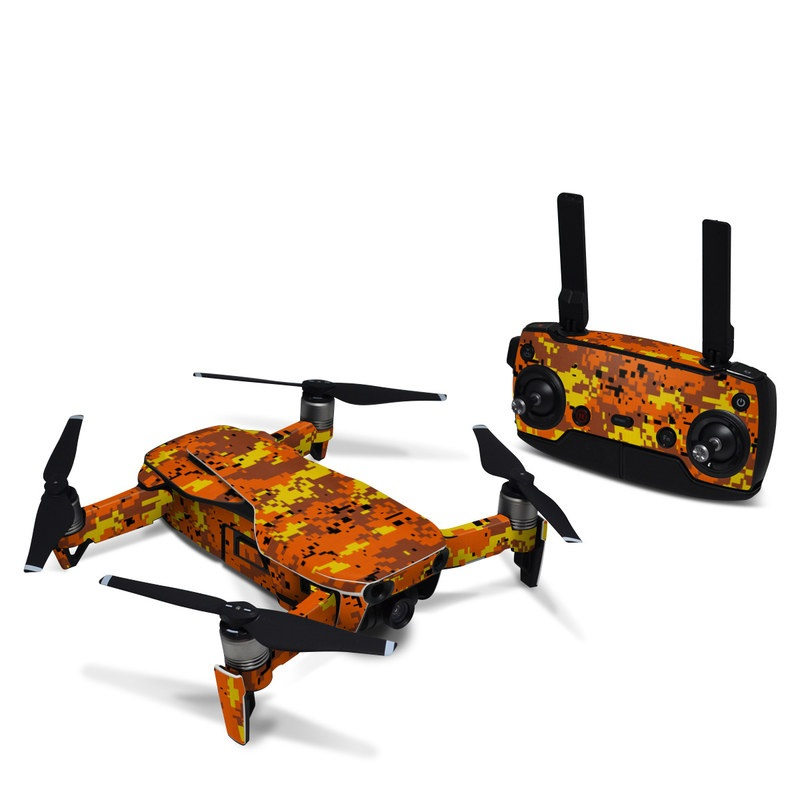 DJI Mavic Air Skin design of Orange, Yellow, Leaf, Tree, Pattern, Autumn, Plant, Deciduous with red, green, black colors