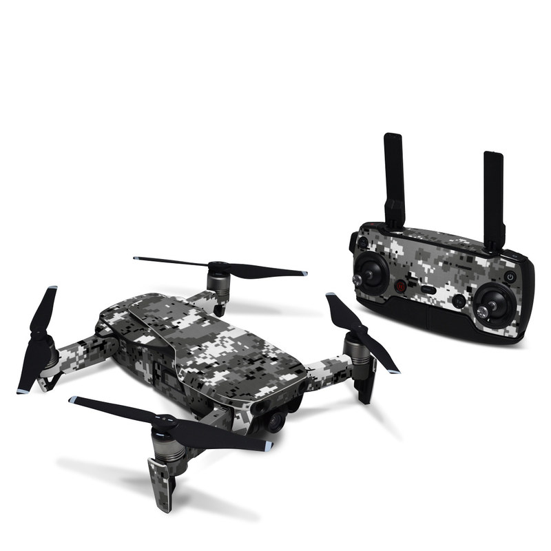 DJI Mavic Air Skin design of Military camouflage, Pattern, Camouflage, Design, Uniform, Metal, Black-and-white with black, gray colors