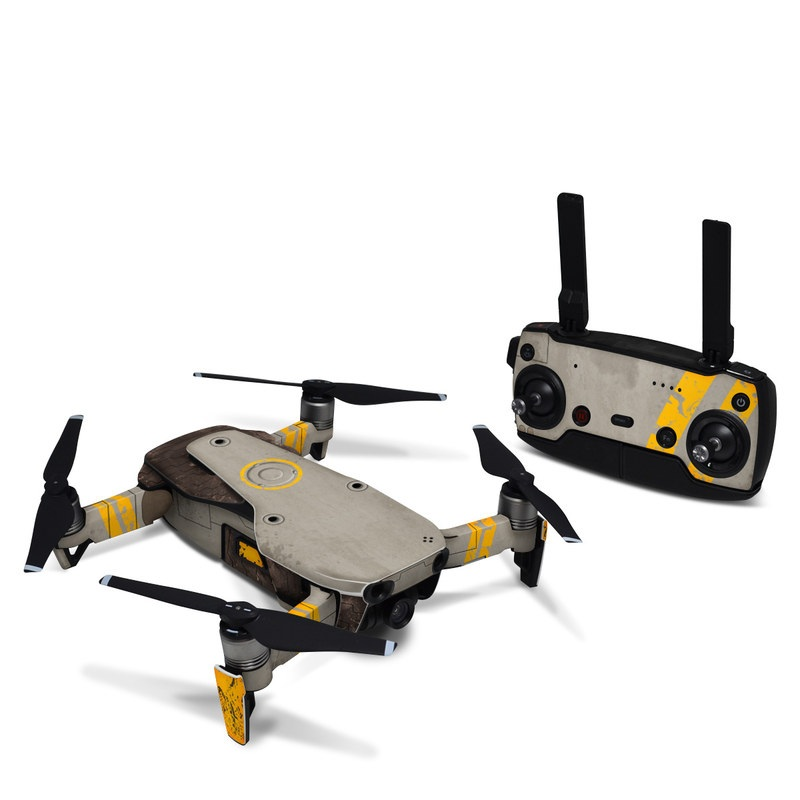 DJI Mavic Air Skin design of Yellow, Wall, Line, Orange, Design, Concrete, Font, Architecture, Parallel, Wood with gray, yellow, red, black colors