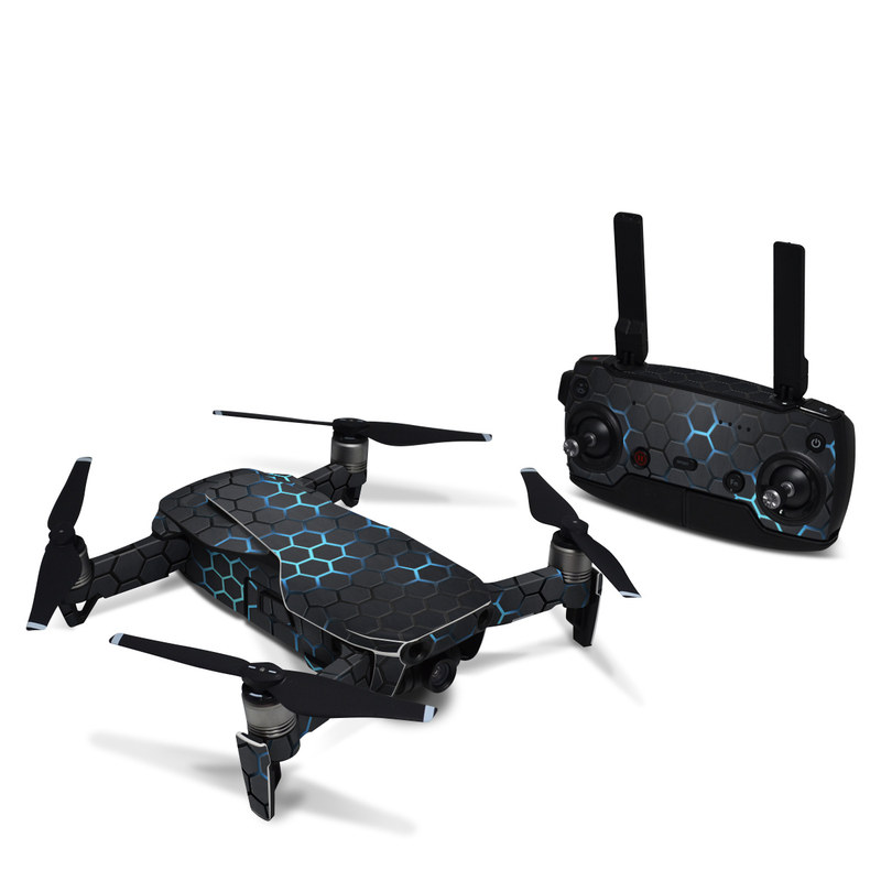 DJI Mavic Air Skin design of Pattern, Water, Design, Circle, Metal, Mesh, Sphere, Symmetry with black, gray, blue colors