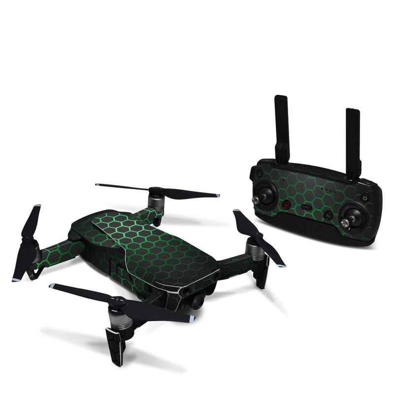 DJI Mavic Air Skin design of Pattern, Metal, Design, Carbon, Space, Circle with black, gray, green colors