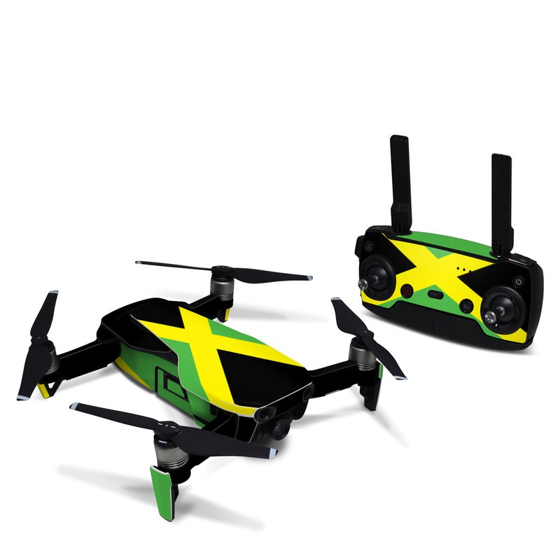DJI Mavic Air Skin design of Green, Flag, Yellow, Macro photography, Graphics, Graphic design with black, green, yellow colors