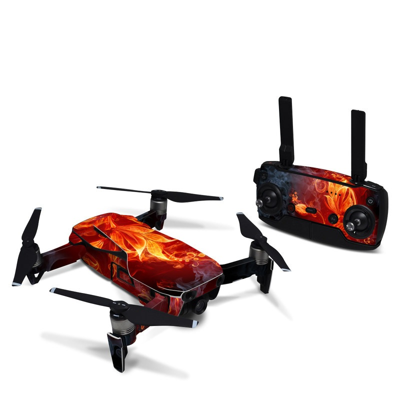 DJI Mavic Air Skin design of Flame, Fire, Heat, Red, Orange, Fractal art, Graphic design, Geological phenomenon, Design, Organism with black, red, orange colors