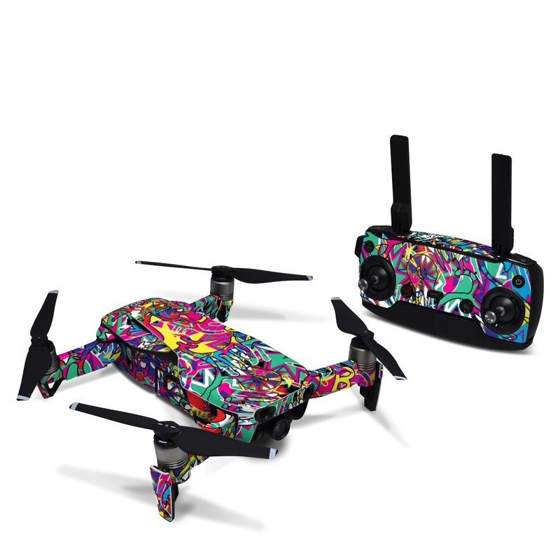 DJI Mavic Air Skin design of Psychedelic art, Art, Visual arts, Pattern, Design, Graffiti, Graphic design, Modern art, Illustration with black, red, blue, purple, gray colors