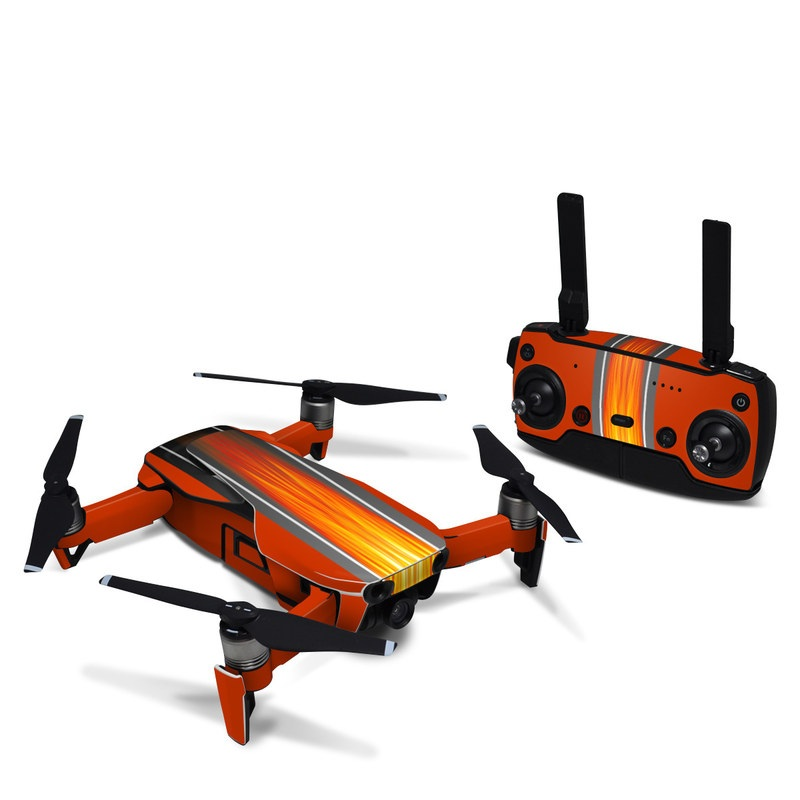 DJI Mavic Air Skin design of Orange, Red, Line, Material property, Rectangle, Automotive lighting with red, black, orange, gray colors