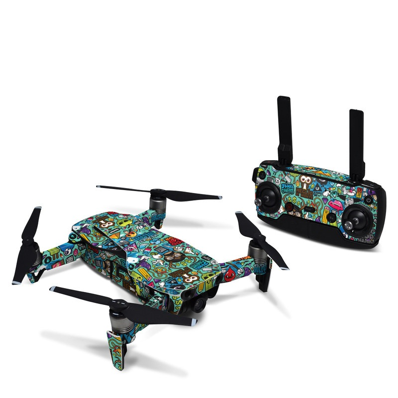 DJI Mavic Air Skin design of Cartoon, Art, Pattern, Design, Illustration, Visual arts, Doodle, Psychedelic art with black, blue, gray, red, green colors