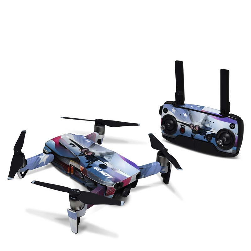 DJI Mavic Air Skin design of Airplane, Aircraft, Aviation, Vehicle, Airline, Aerospace engineering, Air travel, Air force, Sky, Flight with gray, black, blue, purple colors