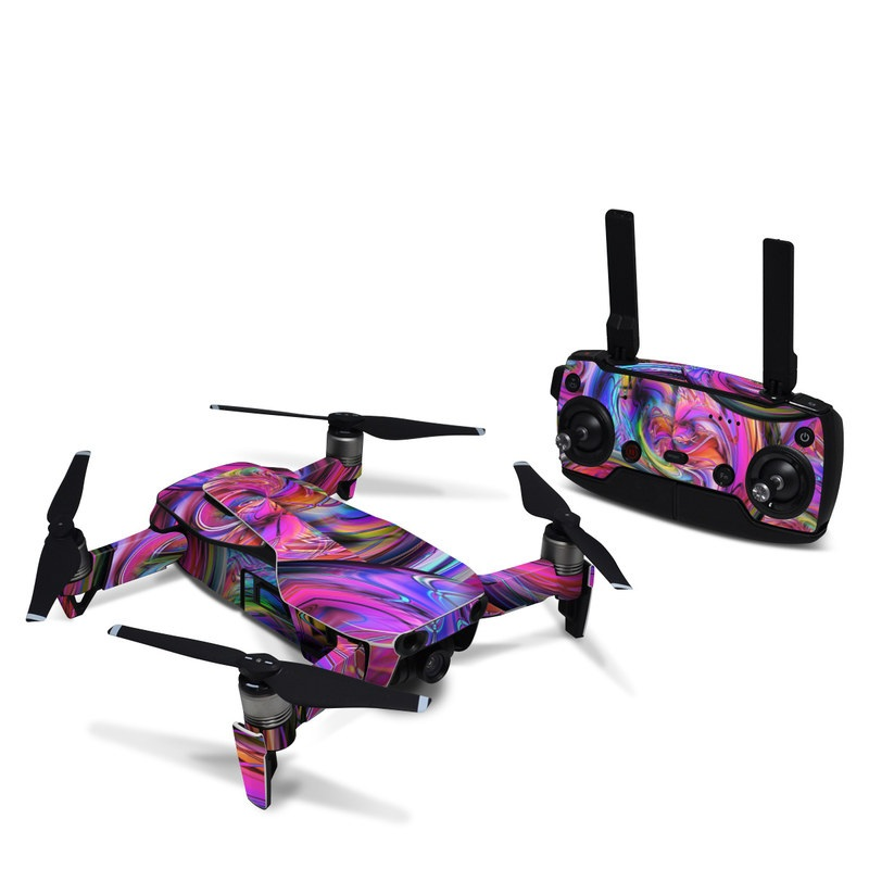 DJI Mavic Air Skin design of Pattern, Psychedelic art, Purple, Art, Fractal art, Design, Graphic design, Colorfulness, Textile, Visual arts with purple, black, red, gray, blue, green colors