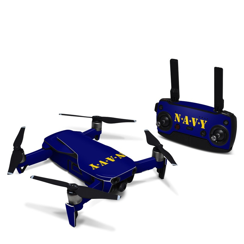 DJI Mavic Air Skin design of Text, Font, Blue, Yellow, Electric blue, Logo, Brand, Graphics, Graphic design with black, orange, green colors