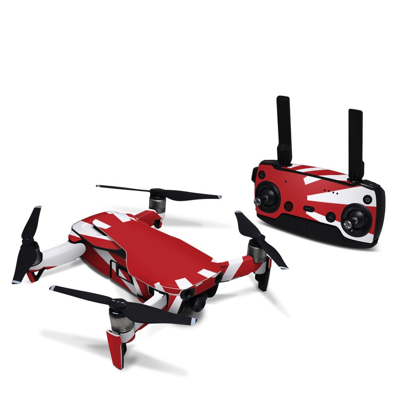 DJI Mavic Air Skin design of Red, Line, Flag, Pattern, Graphic design, Graphics, Clip art with red, white, gray colors