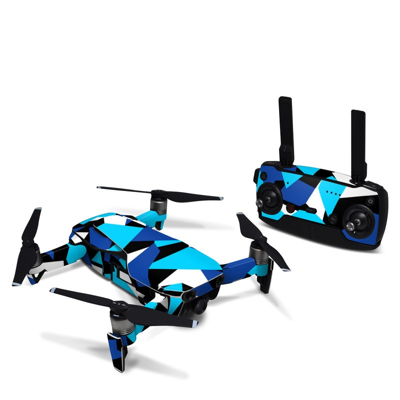 DJI Mavic Air Skin design of Blue, Pattern, Turquoise, Cobalt blue, Teal, Design, Electric blue, Graphic design, Triangle, Font with blue, white, black colors