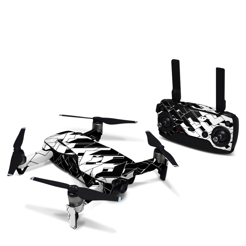 DJI Mavic Air Skin design of Pattern, Black, Black-and-white, Monochrome, Monochrome photography, Line, Design, Parallel, Font with black, white colors